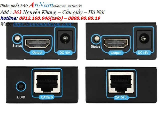 Bộ khuếch đại tín hiệu HDMI 60m.Thiết bị kéo dài cáp HDMI qua đường dây mạng, FJGEAR FJ-HEA60