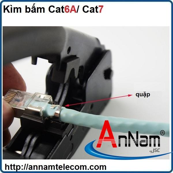 Bộ kìm bấm mạng Cat6A/Cat7, hạt mạng, đầu chụp Cat6A/Cat7 chống nhiễu FTP có đuôi