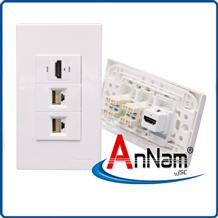 Bộ wallplate 3 cổng âm tường HDMI-LAN-LAN