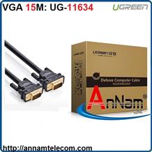Cáp VGA 3+9C dài 15M cho Màn Hình, Máy Chiếu Chính Hãng Ugreen UG-11634 Cao Cấp