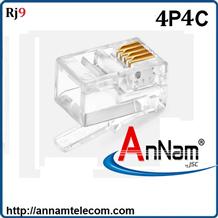 Hạt đầu bấm RJ9 Cat3 AMP/Commscope 4p4c-Hạt điện thoại