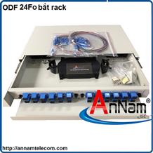 Hộp phối quang ODF 24 FO khay trượt lắp tủ rack
