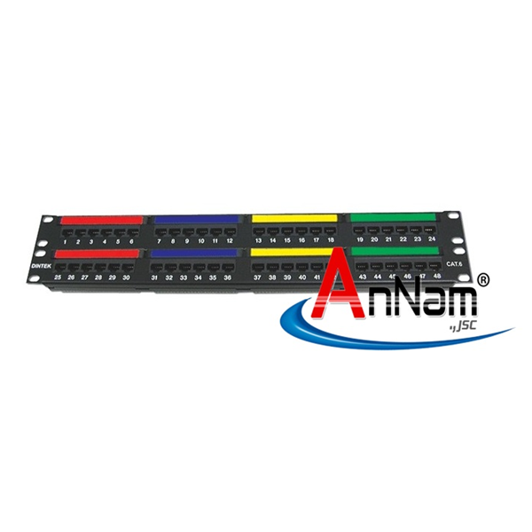 Patch panel 48 Port Dintek, CAT6, 19 inch
