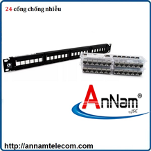 Patch Panel CAT6A AMP (Commscope) chống nhiễu, 24 port. Part number: 1933319-2